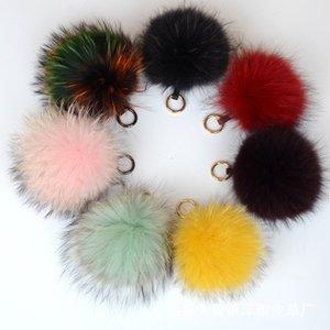 Frauen Fluffy 15cm wirkliche Waschbär-Pelz-Kugel Keychain Pelz Pompom Schlüsselkette Schlüsselanhänger Taschenanhänger Auto-Anhänger-Zubehör