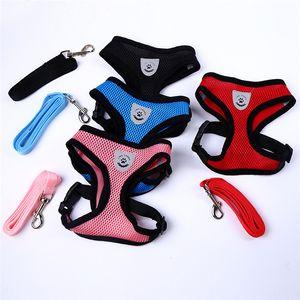 Collar ajustável macio respirável Harness Dog Nylon malha Vest Harness Para cãe Cat Dog Pet Chest Strap Acessórios Leash