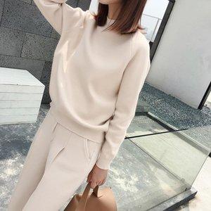 4 색 가을 겨울 니트 운동복 여성 의류 2 종 세트 여성 니트 바지 정장