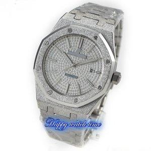 N9 Top versão 15452OR.ZZ.1258OR.02 Diamond Dial Caso de aço de prata 3120 Plywood Mecânica Movimento Mens Watch Aço Strap Luxry Relógios