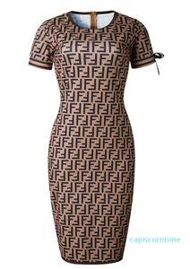 Marca de lujo del diseño Diseño señoras de la oficina trajes de verano Ff Impreso contraste de color Trajes de mujeres Las mujeres forman los vestidos del envío