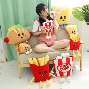 niedlichen Cartoon Plüsch Hamburger Eis französisch frites Spielzeug gefüllte Lebensmittel Popcorn Kuchen Pizza Kissenkissen Kinder Spielzeug Geburtstagsgeschenk