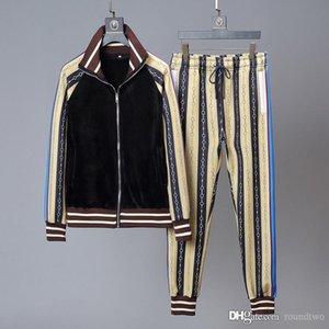 2020 veludo de algodão splicing velo capuz ternos homens rastrear fato de treino de luxo casaco do revestimento do revestimento hoodie da camisola desportiva
