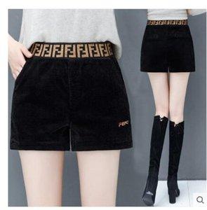 alta cintura suelta carta cintura elástica pantalones cortos de pana de corte de arranque de impresión de tela 2019 Nuevo diseño de las mujeres del otoño más el tamaño S M L XL XXL 3XL