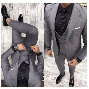 Gray Groom Tuxedos 2019 Groomsman Suit British Style Wedding Prom Suits For Men Bridegroom Suit(Jacket+Pant+Vest+Tie)