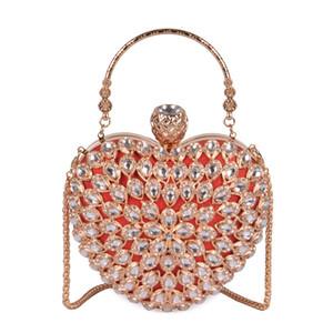 Diamond Hollow Out Heart Women Party Handbag Evening Bag Clutch Bag Chain Purse Ladies Pouch Shoulder