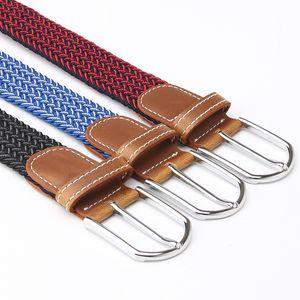 2020 new preferred trend fashion multicolor wild elastic pin buckle belt men's stretch woven canvas belt