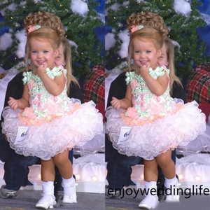 2020 bébé Pageant Miss America Fille Robes Custom Made Organza Party Cupcake robe de demoiselle Jolie pour Little Kid