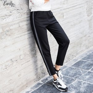 Autumn 2020 Joggers Women Silver Striped Sweatpants Ankle Length High Waist Casual Harem Pants Women Trousers Pantalones Mujer