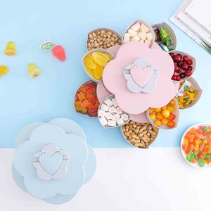 Storage Box bloom Creative Double-layer Rotating Flower Design Snack Candy Food Container Box Fruit Basket Jewelry Organizer