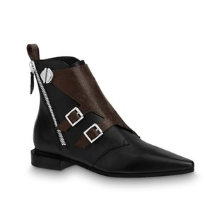2019 Luxus Designer Martin Boot Jumble Flache Stiefelette Kalbsleder Braune Blume Winterstiefel für Damen Side Zip Combat Boost 7 Farben