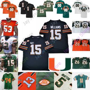 Miami Hurricanes del jersey del fútbol universitario NCAA Gregory Rousseau Jarren Williams Jeff Thomas Kelly K. J. Harris Cam'Ron Osborn 5 N'Kosi Perry