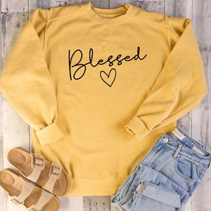 Blessed Christian Sweatshirts Women Jesus Faith Hope Love Pullover God Grace Festival cotton Autumn Heart Hoodies Drop Shipping Y200706