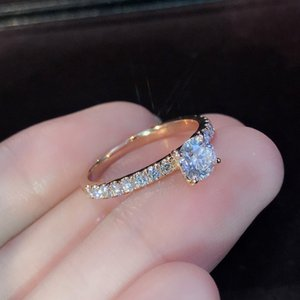 Fashion Silver Rose Gold Color Clear Zircon Rings For Women Girls Gifts Female Engagement Wedding CZ Crystal Ring SJ