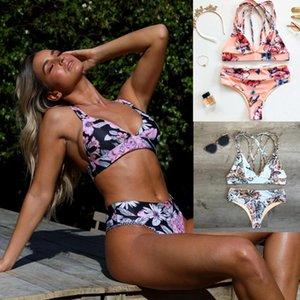 2020 new swimwear European and American bikini high waist women's bikini printed swimwear thong bathing suit women -PX