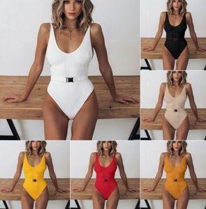 belle pièce d'un maillot de bain ensemble split boucle de ceinture couleur unie maillot de bain sexy imprimé léopard réunis Bikinis plage yakuda vêtements de sport en ligne