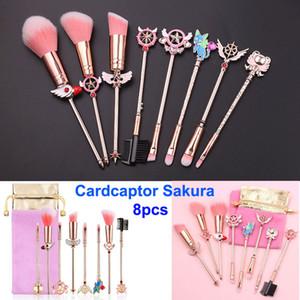 Escovas da composição definida cardcaptor Sakura escova cosmética lua marinheiro mágico varinha menina aumentou composição do ouro kit de escova de saco-de-rosa Foundation face