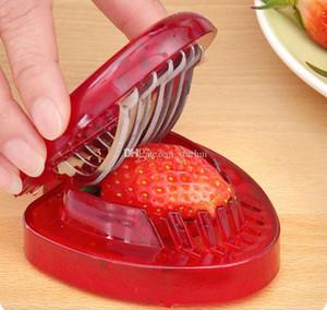 Erdbeerschneider Edelstahl Küchengeschirr Kunststoff Obst Schnitzwerkzeuge Erdbeerkuchen Dekoration Salatschneider Werkzeuge HH7-2042