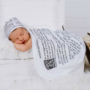 Infant Baby Letters Receiving Blanket Swaddle Wrap Blanket Storybook Baby Blanket Photography Infant Wrapped Cloth With Hat 15333