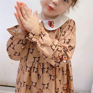Hot Selling Children's Clothing 2020 Spring Autumn New Girls Children Cotton Long-sleeved Dress Fashion Popular Children Printed Skirt