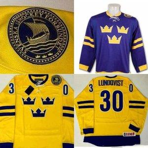 Hommes de # 30 Henrik Lundqvist Peint À La Main Suède Jersey Jaune Violet 100% piqué broderie Logos hockey maillots