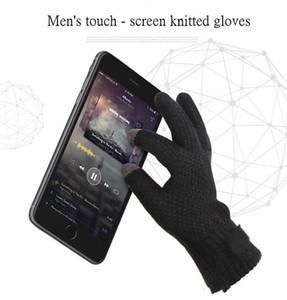 Winter Herren Strickhandschuhe Touch Screen Qualitäts-Male Fäustling verdicken warme Wolle Cashmere Solide Herren Business Handschuhe Herbst