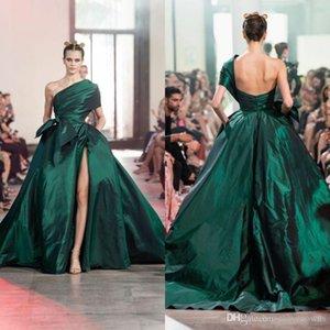 Elie Saab escuro verde Um Vestidos Linha de um ombro Árabe Kaftan High Side Dividir Formal Prom Dress Vestidos Vestidos De Novia