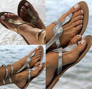 Wholesale Women summer Sandals plus size slippers snake skin Gladiator flip-flop Cross belt Slides Shoes comfortable beachwear hot sell 0065