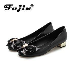 Fujin solos zapatos de las mujeres de la primavera de 2020 Shallow cuña de la manera del dedo del pie redondo respirable superficial cómodo resbalón ocasional de las mujeres de los holgazanes