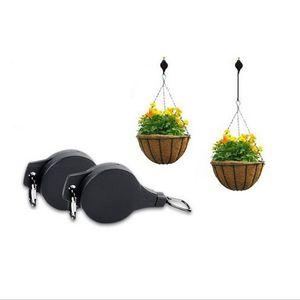 Kreative Hanging Basket Teleskop Pull-Down-Blumentopf Aufhänger für Garten Blumen Pflanzen Körbe Töpfe Haken Werkzeug-Zubehör 6 2LD E19