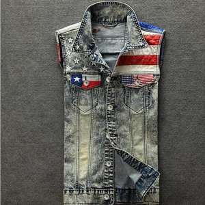 2020 New Arrival Men's Denim Vest Jeans Vest Men Cowboy Denim Sleeveless American Flag Patchwork Jacket For Men