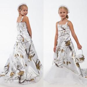 Blanc Véritable Arbre Camo Dentelle Robes De Fille De Fleur Custom Toddler Enfants Robes De Mariée Formelles Camouflage Satin Robes De Fête D'anniversaire