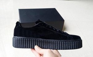 Горячая Распродажа-Женская Rihanna Riri Fenty Платформа Creeper Бархат Черный Серый Цвет Бренд Женская Классическая Повседневная Обувь 36-39