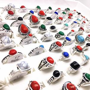 anelli all'ingrosso 100pcs delle donne Boemia gioielli stili mescolare moda anello di tenuta in pietra Finger argento antico dei regali del partito che dropshipping