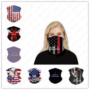 Unisex Seamless America Bandiera Bandanas Magic Founcher Guiding Mask Mask Tubo Neck Face Foders Guards I Non riesco a respirare stampa Sport Fascia D6407