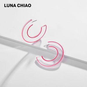 CHIAO Fashion Jewelry Bijoux Extra Big Transparent Plexiglas-Band-Ohrringe mit farbigen Große Ohrring-Bänder Malerei