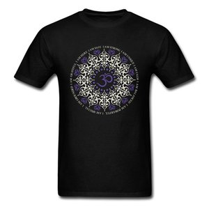 Hinduism Buddhism Mandala Om Print T Shirt Men Black O Neck T-Shirt Mans Gift Tee Shirts Unique FatherS Birthday Tops