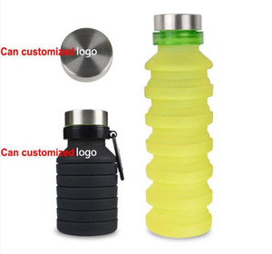 Fold Silicone Water Bottles Sport 550ML Outdoor Flexible Drink Cups Cycling Bottles Mug Travel With Mountaineering Buckle 4 Colors