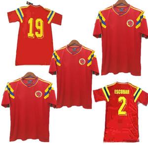 homens 1990 Retro # 10 Valderrama # 9 Guerrero Colômbia camisa de futebol vermelho clássico comemorar antigo Vintage Collection camisa de futebol Camiseta