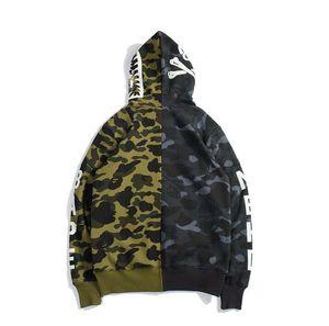 Autumn Winter New Tide Brand Teenager Black Camo Casual Fleece Hoodies Men &#039 ;S Loose Hoodies Coat Camouflage Hoodie Sweater Clothes M