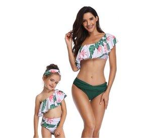 2020 Sıcak Satış Avrupa ve Amerika Mayo Baskı Yüksek Bel fırfır Bölünmüş Bikini Üst-alt Mayo (Çocuk Mayo)