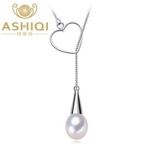 ASHIQI Real 925 стерлингового серебра сердце ожерелье кулон натуральный пресноводный жемчуг ювелирные изделия для женщин подарок