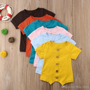 Baby Girl Clothes Cotton Baby Boy Rompers Solid Toddler Jumpsuits Single Breasted Newborn Romper Summer Baby Clothing 6 Colors YW3644