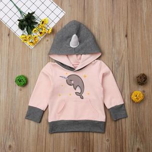 Rosa Kid Baby-Mädchen-Einhorn Dolphin Langarm-Kapuzenshirt Hoodie Tops Sweatshirt Kleidung
