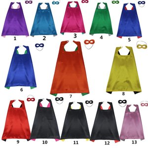 Super-héros Capes avec masque réversible 2 couleur enfant Cape Birthday Party Favor satin solide Garçons Filles Capes Halloween Cosplay BH2275 EJT