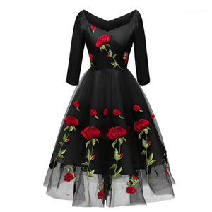 Panelled Womens Designer Bridesmaid Dresses Casual Females Clothing Rose Embroidery Womens Casual Dresses Fashion Solid Color Guaze