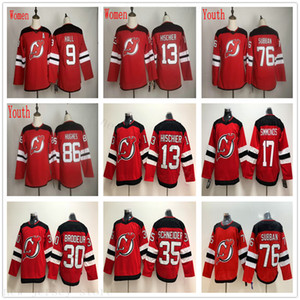Adam Kadınlar Gençlik New Jersey Devils Buz Hokeyi 86 Jack Hughes Jersey Çocuklar 76 PK Subban 9 Taylor Hall 13 Nico Hischier Formalar