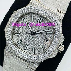 PPF Nautilus 5719 Ver 28800VPH zafiro de 18 quilates de platino relojes de acero inoxidable de lujo de diamante completo del reloj para hombre Cal.324SC mecánico automático