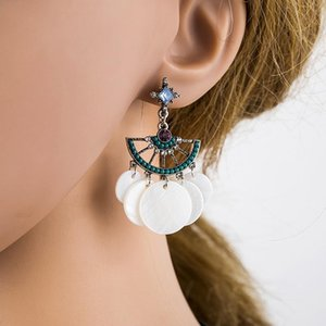 1 paire de boucles d'oreilles de glands doux pour femmes - Bohème Boho Style de vacances Blanc Bleu Dangle Boucle d'oreille Déclaration Bijoux de mode