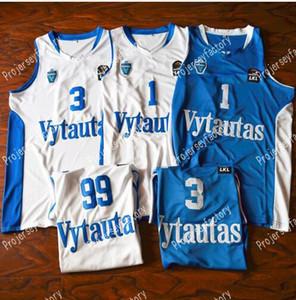 Pas chers 1 Liangelo Ball 3 Liangelo Ball 99 Lavar Ball Lituanie Vytautas Jerseys Jersey Hommes Blanc Bleu Blanche Livraison Gratuite Basketball Jersey